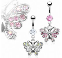 Piercing nombril Papillon Gemmes