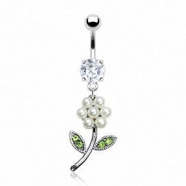 Piercing nombril Fleur Perles