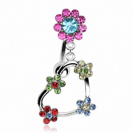 Piercing nombril inversé Coeur Fleur