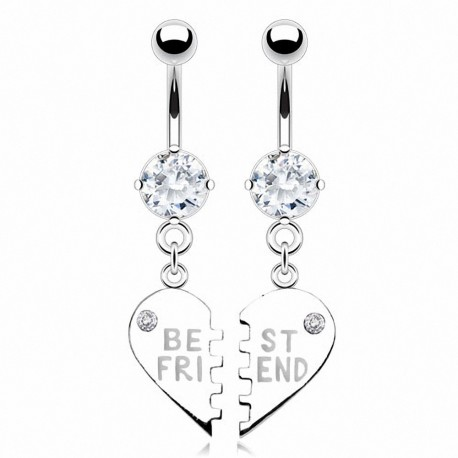 "Paire de Piercing nombril ""Best Friend"""