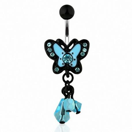 Piercing nombril Papillon Bleu