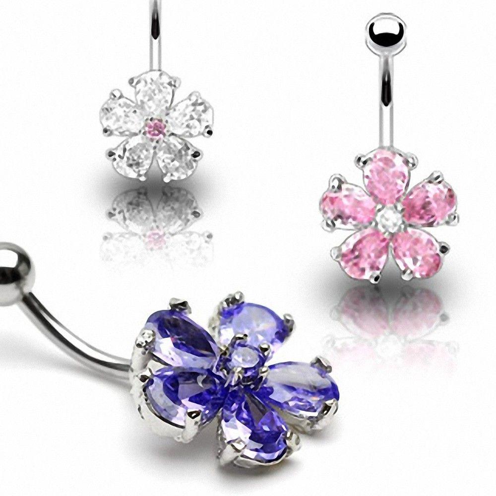piercing nombril fleur gemmes acier chirurgical. Black Bedroom Furniture Sets. Home Design Ideas