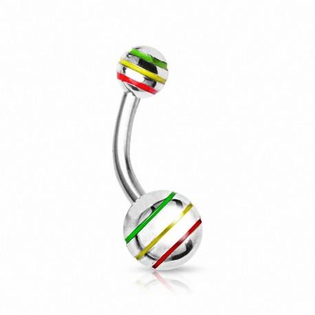 Piercing nombril Boules Striées
