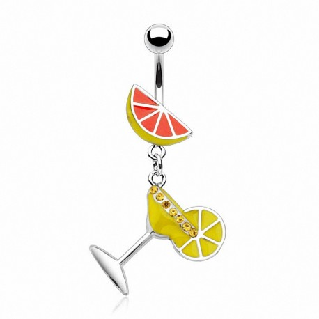 Piercing nombril Verre Martini Citron