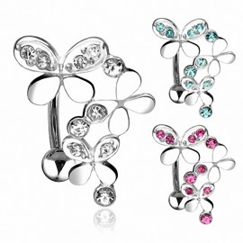 Piercing nombril inversé Triple Papillons