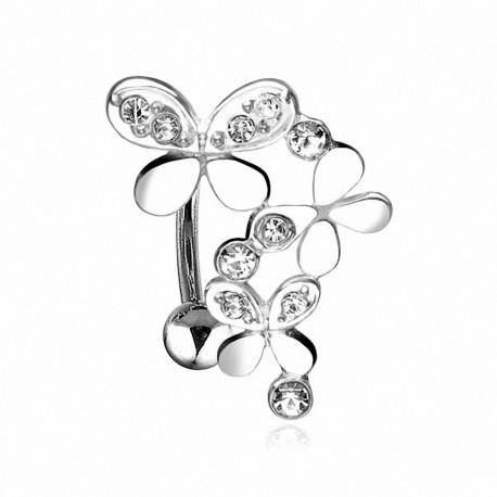 Piercing nombril inversé Triple Papillons
