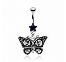 Piercing nombril Papillon Gothique