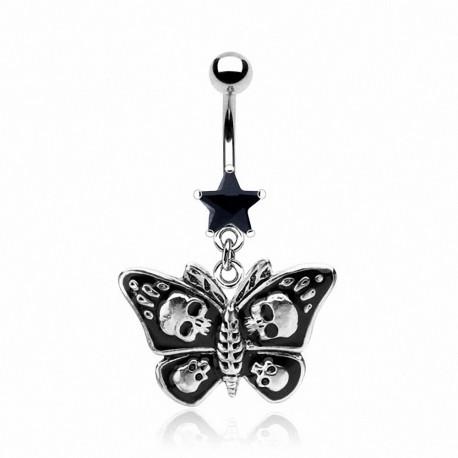 Piercing nombril Papillon Gothique