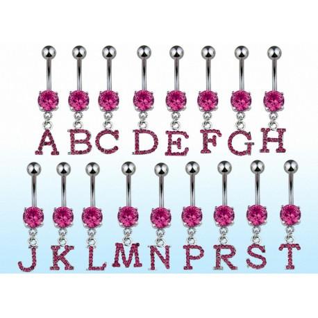Piercing nombril Alphabet Lettre Gemme Rose