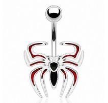 Piercing nombril Araignée Noire et Rouge