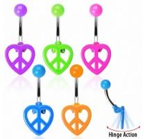 Piercing nombril Peace Coeur Fluo