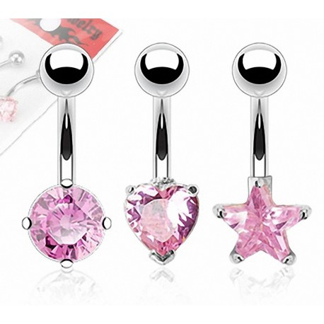 Lot de 3 Piercing Nombril Pierres Cubic Zirconium Roses