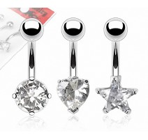 Lot de 3 Piercing Nombril Pierres Cubic Zirconium Claires