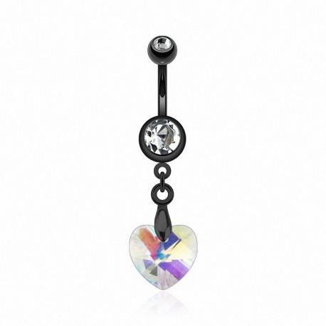 Piercing nombril Noir IP Crystal Prisme Coeur
