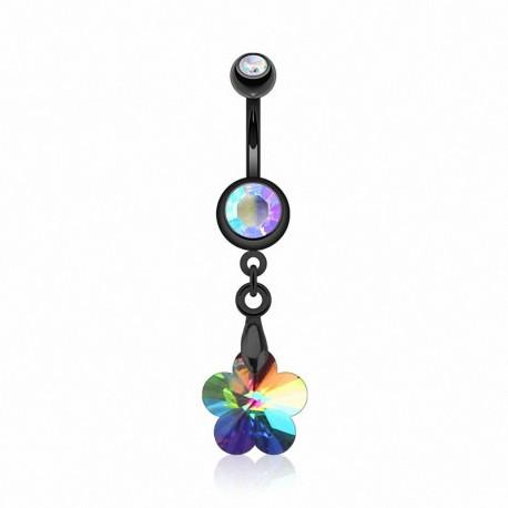 Piercing nombril Noir IP Crystal Prisme Fleur