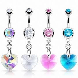Piercing nombril Crystal Prisme Coeur
