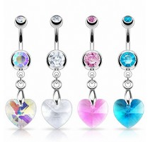 Piercing nombril Crystal Prisme Coeur