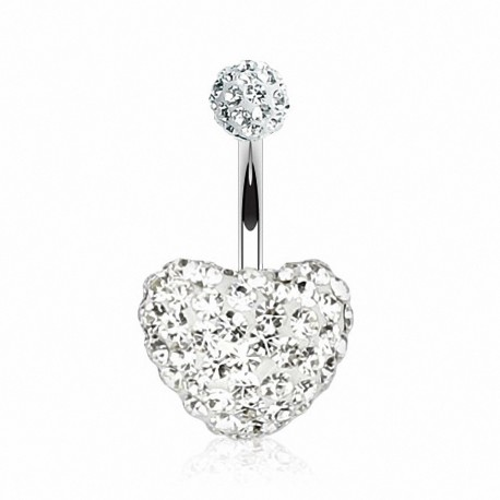 Piercing nombril Multi Crystal Swarovski Coeur