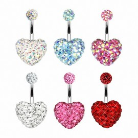 Piercing nombril Multi Crystal Ferido Coeur