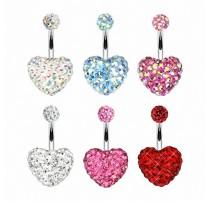 Piercing nombril Multi Crystal Swarovski Coeur