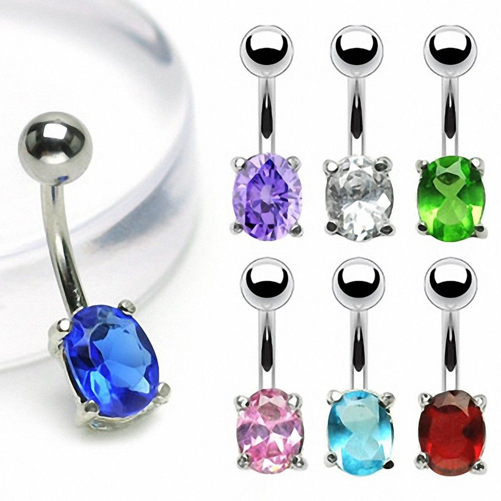piercing nombril acier chirurgical gemme ovale. Black Bedroom Furniture Sets. Home Design Ideas