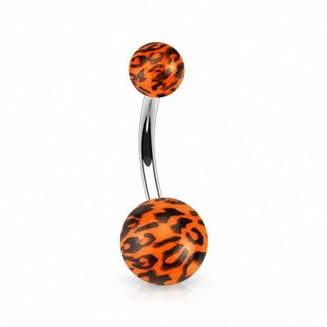 Piercing nombril Boules acrylique Léopard