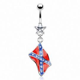 Piercing nombril pendentif Drapeau Rebelle