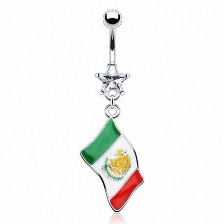 Piercing nombril Drapeau Mexique