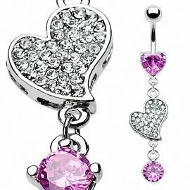Piercing nombril acier chirurgical Coeur Rose