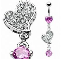 Piercing nombril acier Coeur Rose
