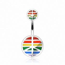 Piercing nombril acier chirurgical Rainbow Peace