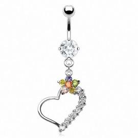 Piercing nombril acier chirurgical Fleur et Coeur