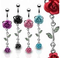 Piercing Nombril Rose Métalliques Acier Chirurgical