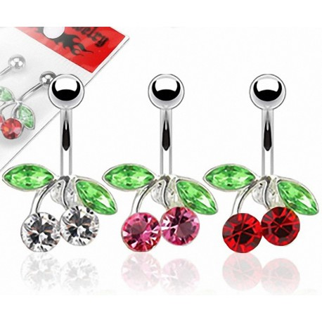 Lot de 3 Piercing Nombril Acier Chirurgical Cerise