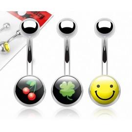 Lot de 3 Piercing Nombril Acier Chirurgical Logos