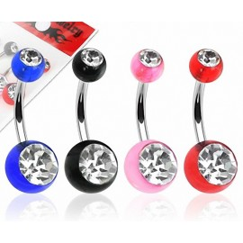 Lot de 4 Piercing Nombril Boules Acrylique Gemmes
