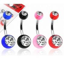 Lot de 4 Piercing Nombril Boules Acrylique Gemmes