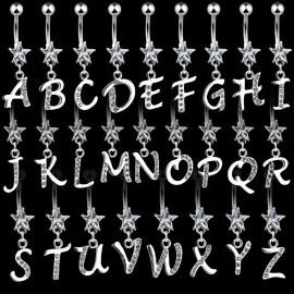 Piercing nombril Gemme Etoile Clair Alphabet