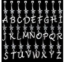Piercing nombril Gemme Etoile Clair Alphabet Lettre