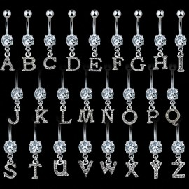 Piercing nombril Gemme Clair Alphabet