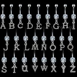 Piercing nombril Gemme Clair Alphabet
