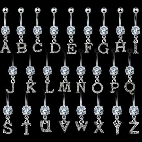 Piercing nombril Gemme Clair Alphabet Lettre