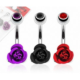 Lot de 3 Piercing Nombril Acier Chirurgical Rose Métallique