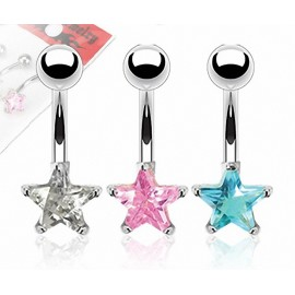 Lot de 3 Piercing Nombril Acier Chirurgical Gemme Etoile
