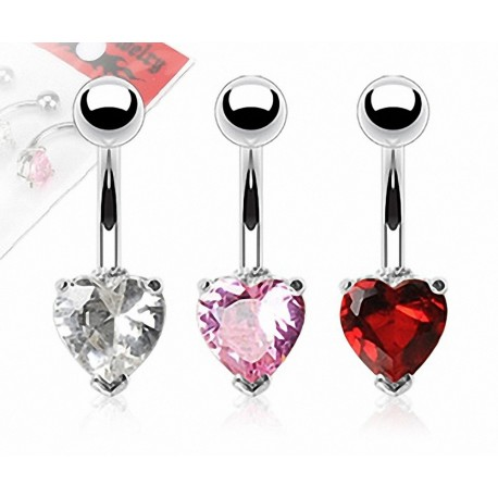 Lot de 3 Piercing Nombril Acier Chirurgical Gemme Coeur