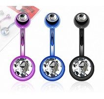 Lot de 3 Piercing Nombril Titanium Double Gemmes