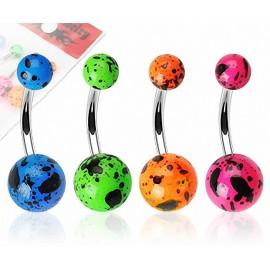 Lot de 4 Piercing Nombril Boules Acrylique Fluo