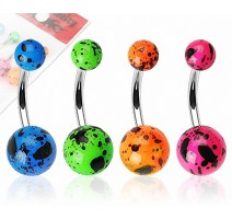 Lot de 4 Piercing Nombril Boules Acrylique Fluo