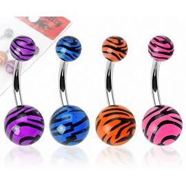 Lot de 4 Piercing Nombril Boules Acrylique Tigrées