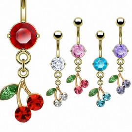 Piercing Nombril Plaqué Or 14K Cerise
